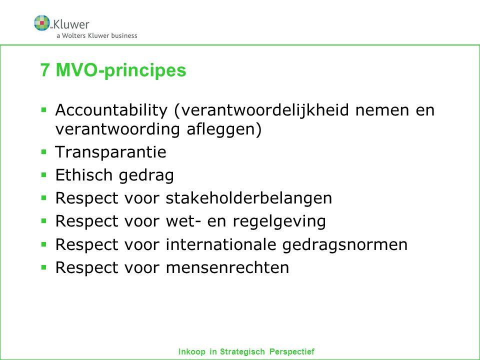 7 MVO-principes Accountability (verantwoordelijkheid nemen en verantwoording afleggen) Transparantie.
