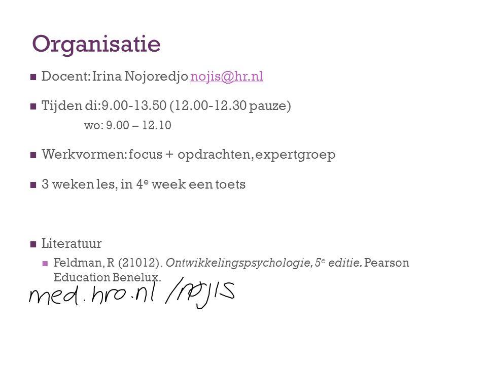 Organisatie Docent: Irina Nojoredjo nojis@hr.nl