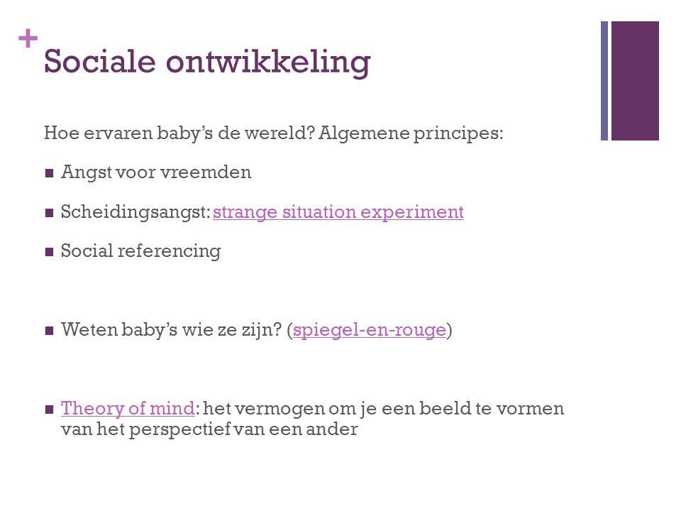 Sociale ontwikkeling Hoe ervaren baby's de wereld Algemene principes: