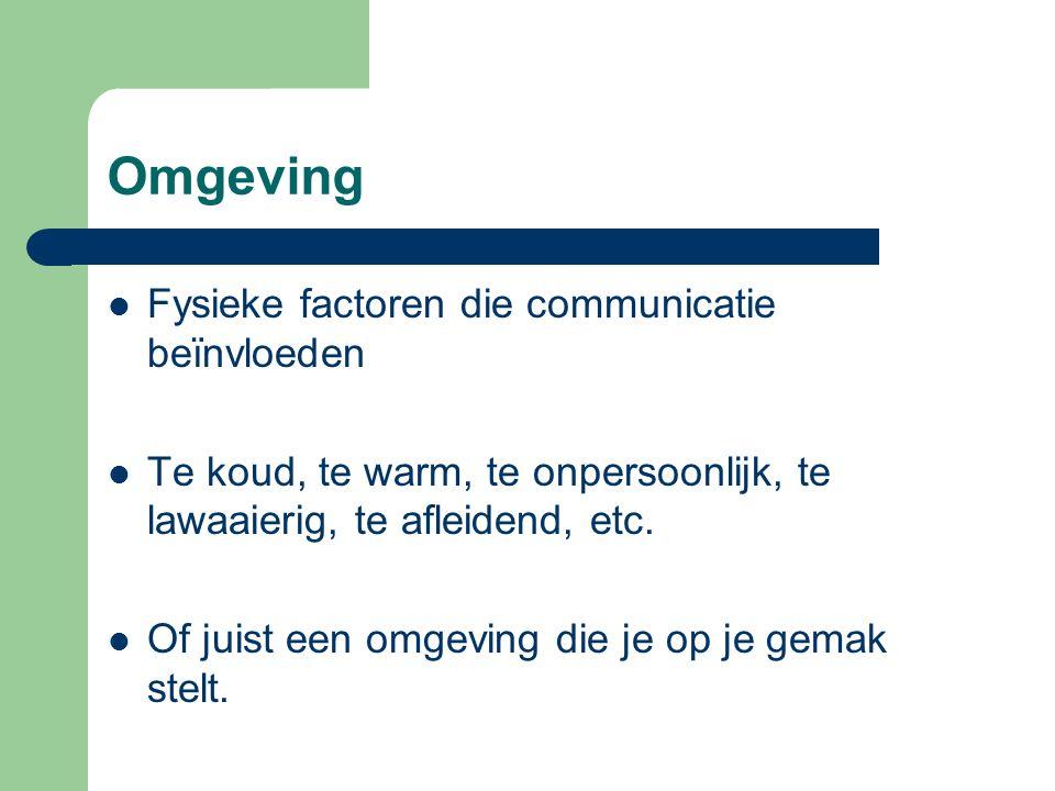 Omgeving Fysieke factoren die communicatie beïnvloeden