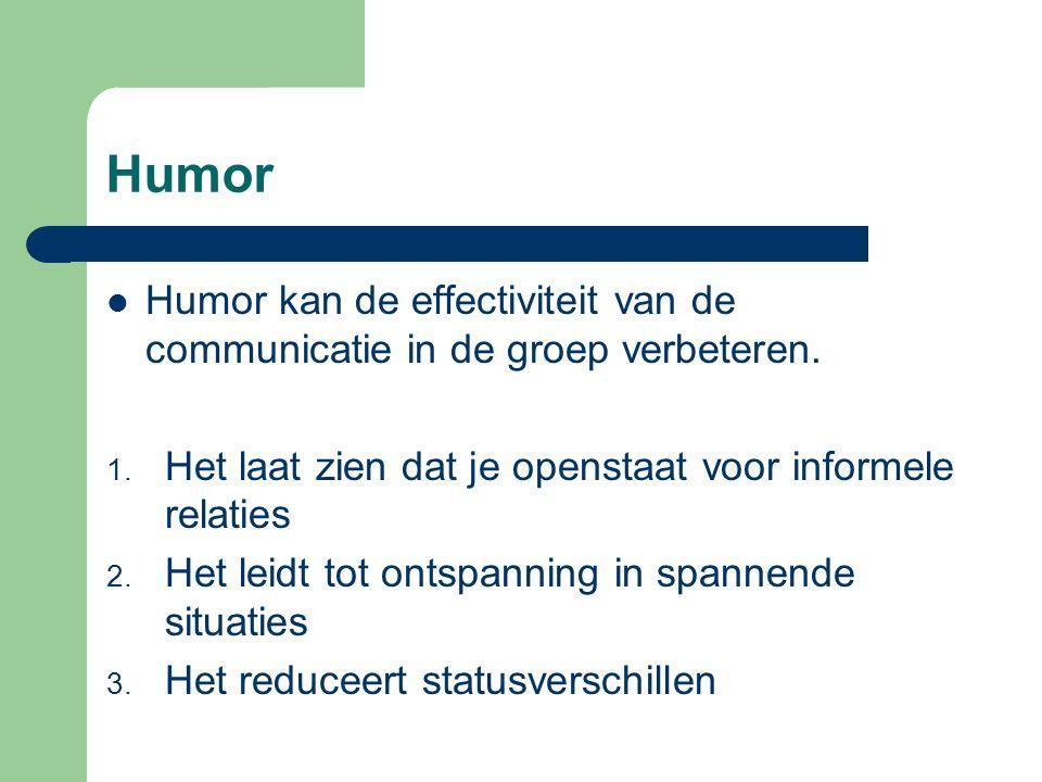 Humor Humor kan de effectiviteit van de communicatie in de groep verbeteren. Het laat zien dat je openstaat voor informele relaties.
