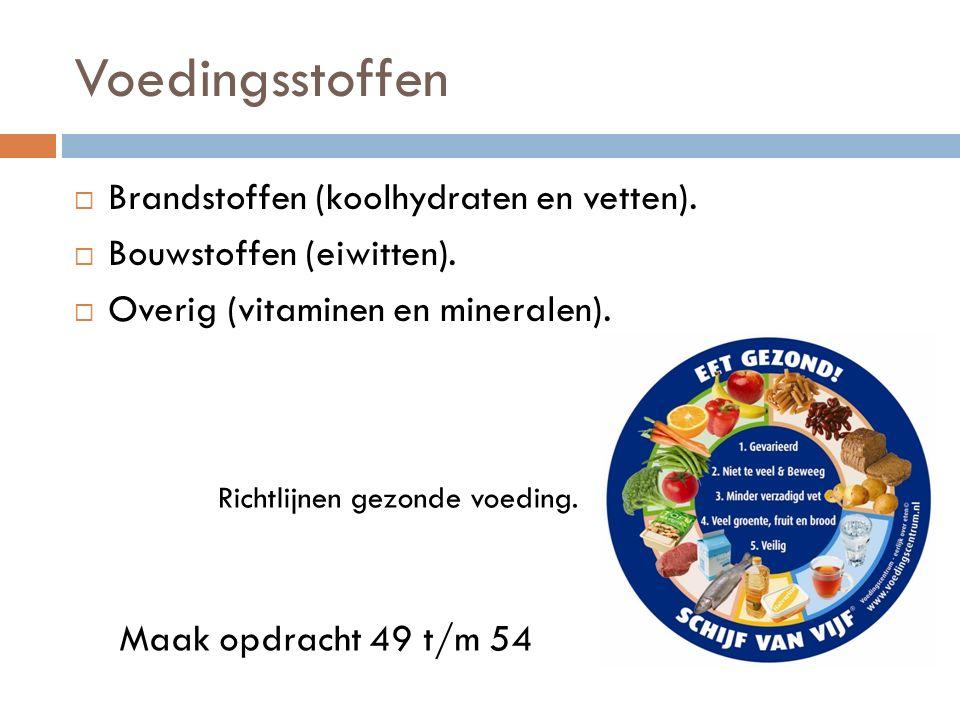 Voedingsstoffen Brandstoffen (koolhydraten en vetten).