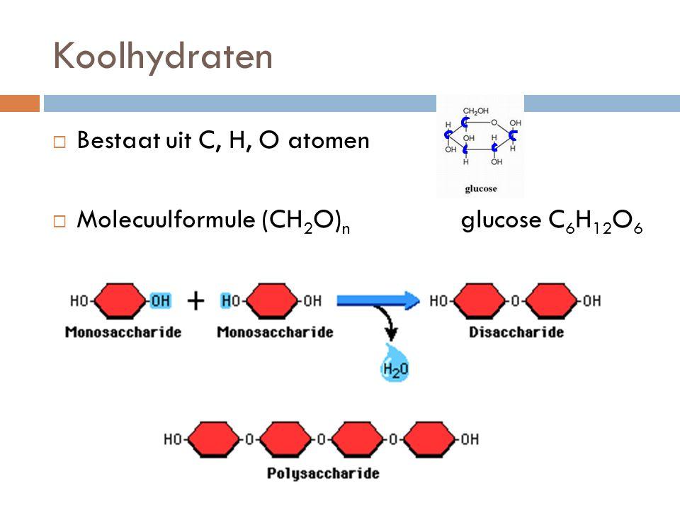 Koolhydraten Bestaat uit C, H, O atomen