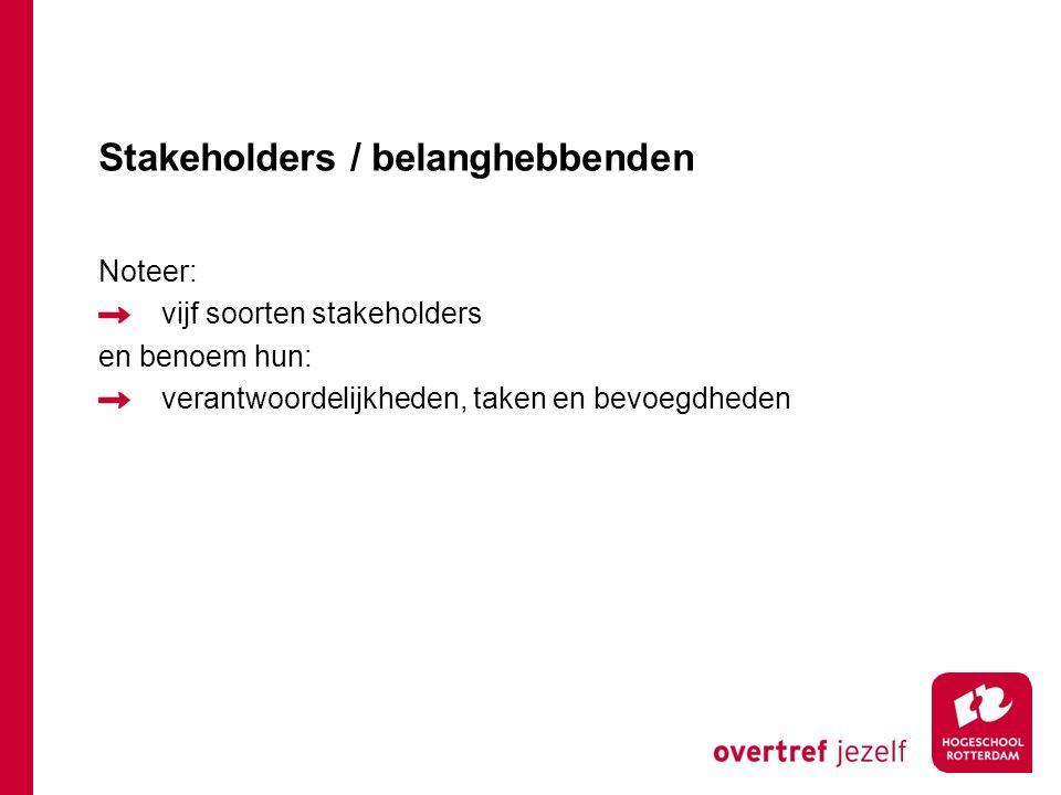 Stakeholders / belanghebbenden