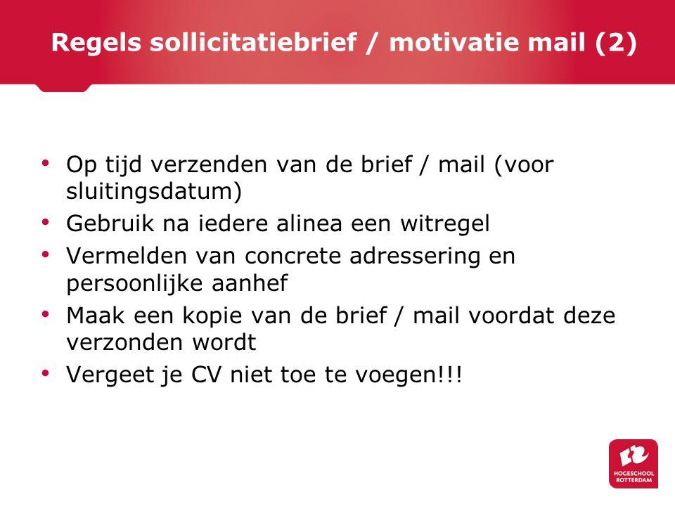 Regels sollicitatiebrief / motivatie mail (2)