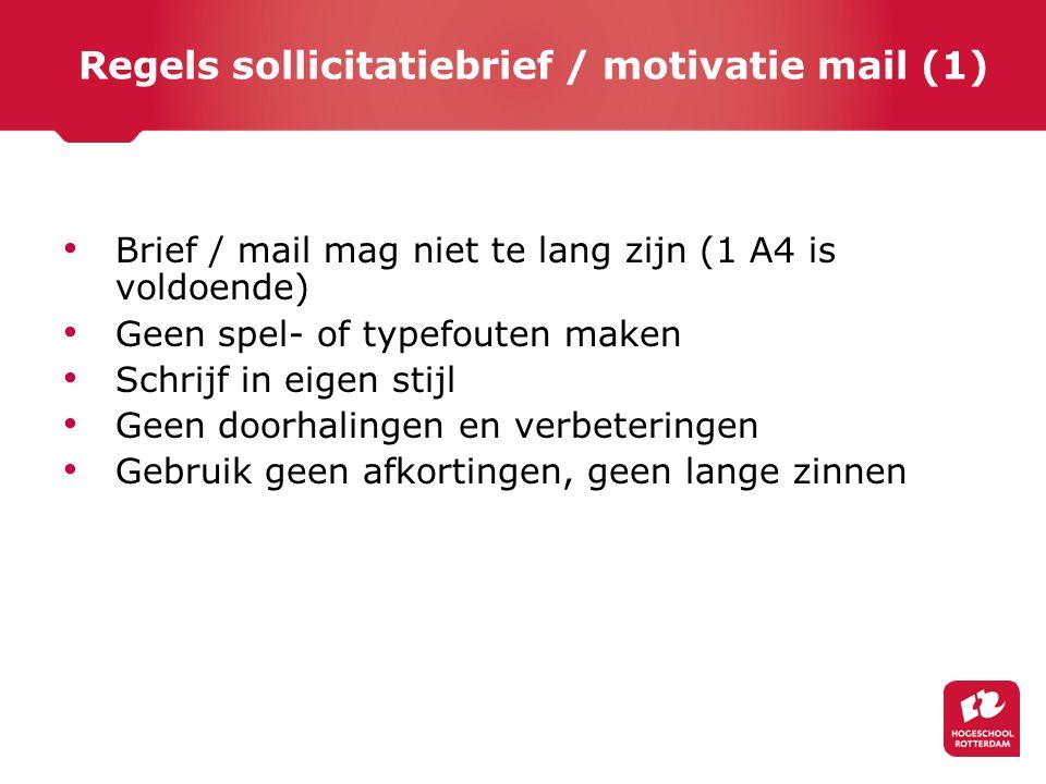 Regels sollicitatiebrief / motivatie mail (1)