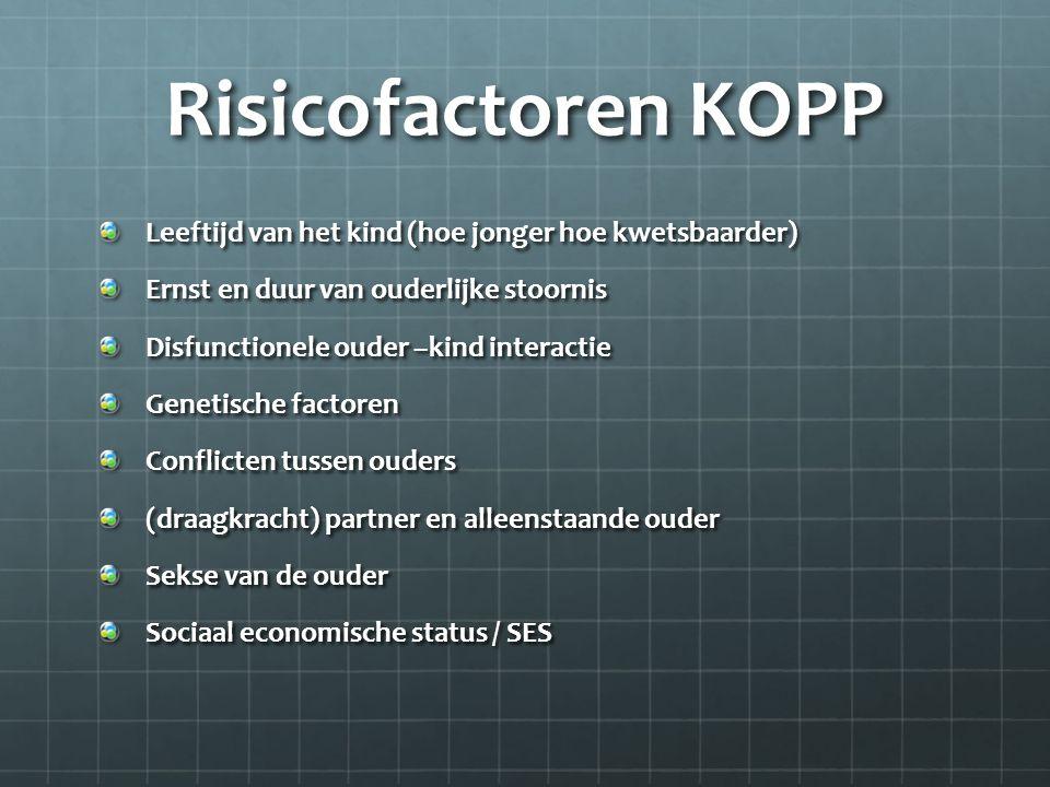 Risicofactoren KOPP Leeftijd van het kind (hoe jonger hoe kwetsbaarder) Ernst en duur van ouderlijke stoornis.