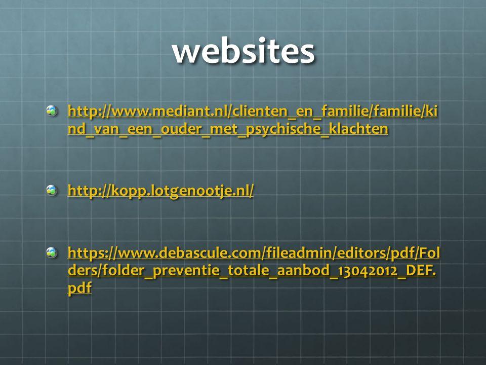 websites http://www.mediant.nl/clienten_en_familie/familie/ki nd_van_een_ouder_met_psychische_klachten.