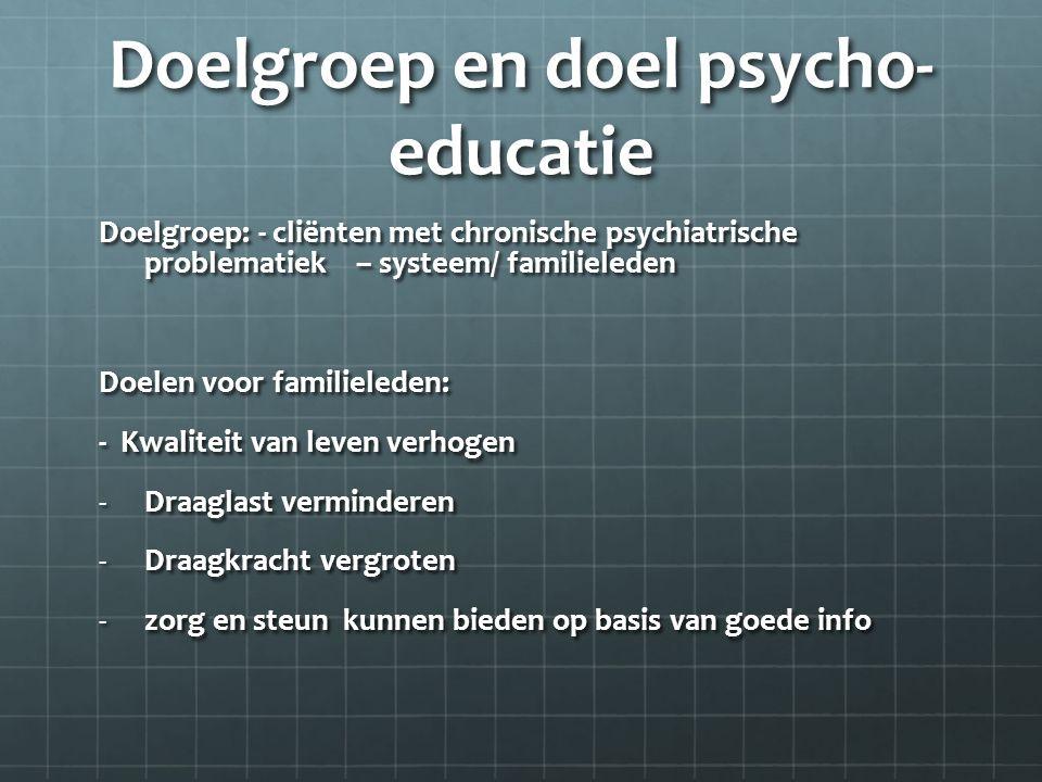Doelgroep en doel psycho-educatie