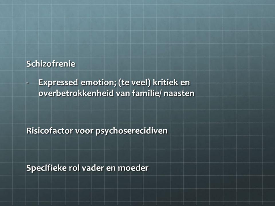 Schizofrenie Expressed emotion; (te veel) kritiek en overbetrokkenheid van familie/ naasten. Risicofactor voor psychoserecidiven.
