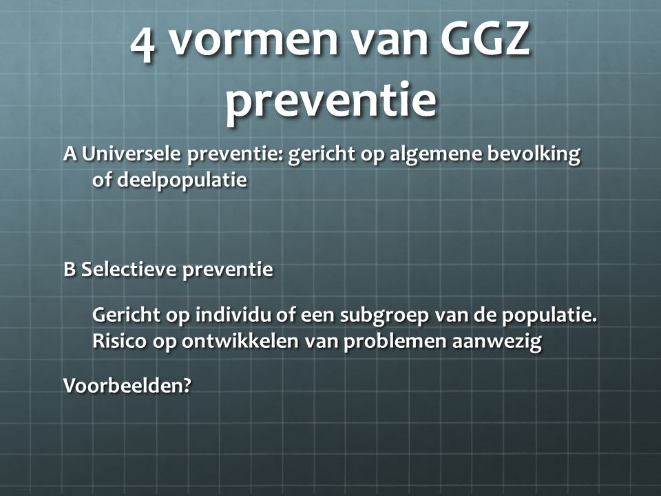 4 vormen van GGZ preventie