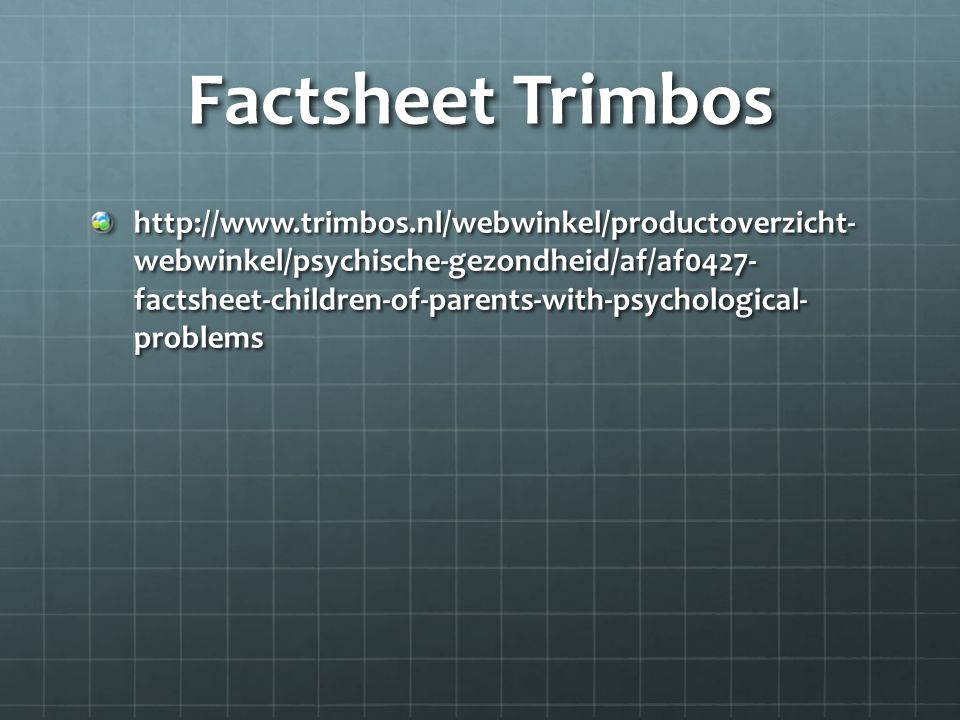 Factsheet Trimbos