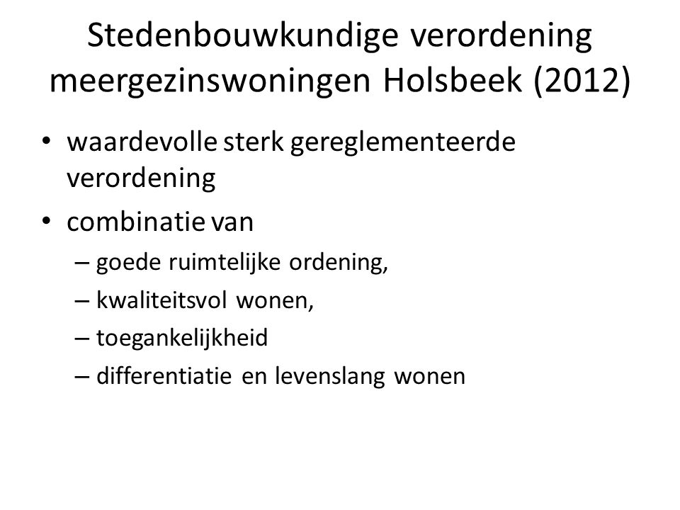 Stedenbouwkundige verordening meergezinswoningen Holsbeek (2012)