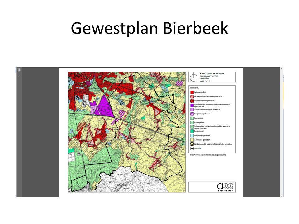 Gewestplan Bierbeek Verstedelijkte uitloper van Leuven, verder sterk verspreid agrarisch, en vierkantshoeves.