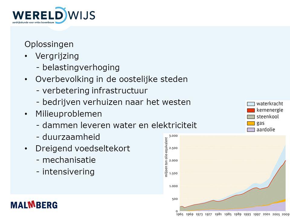 Oplossingen Vergrijzing. - belastingverhoging. Overbevolking in de oostelijke steden. - verbetering infrastructuur.