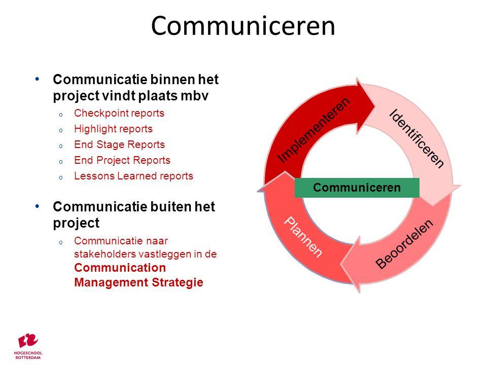 Communiceren Communicatie binnen het project vindt plaats mbv