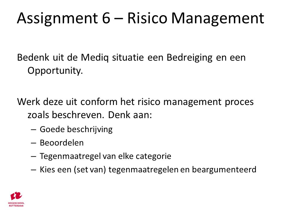 Assignment 6 – Risico Management