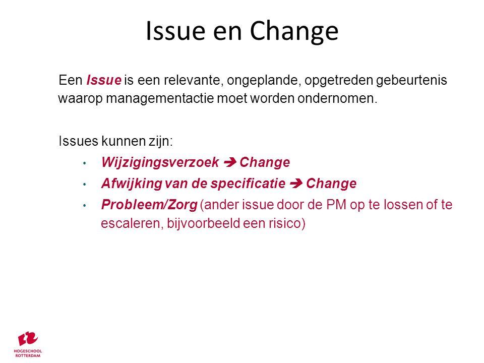 Issue en Change Een Issue is een relevante, ongeplande, opgetreden gebeurtenis waarop managementactie moet worden ondernomen.