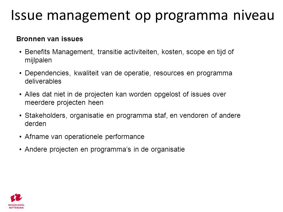 Issue management op programma niveau
