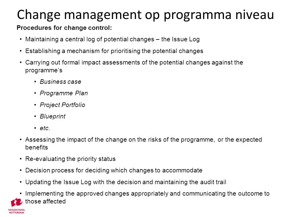Change management op programma niveau