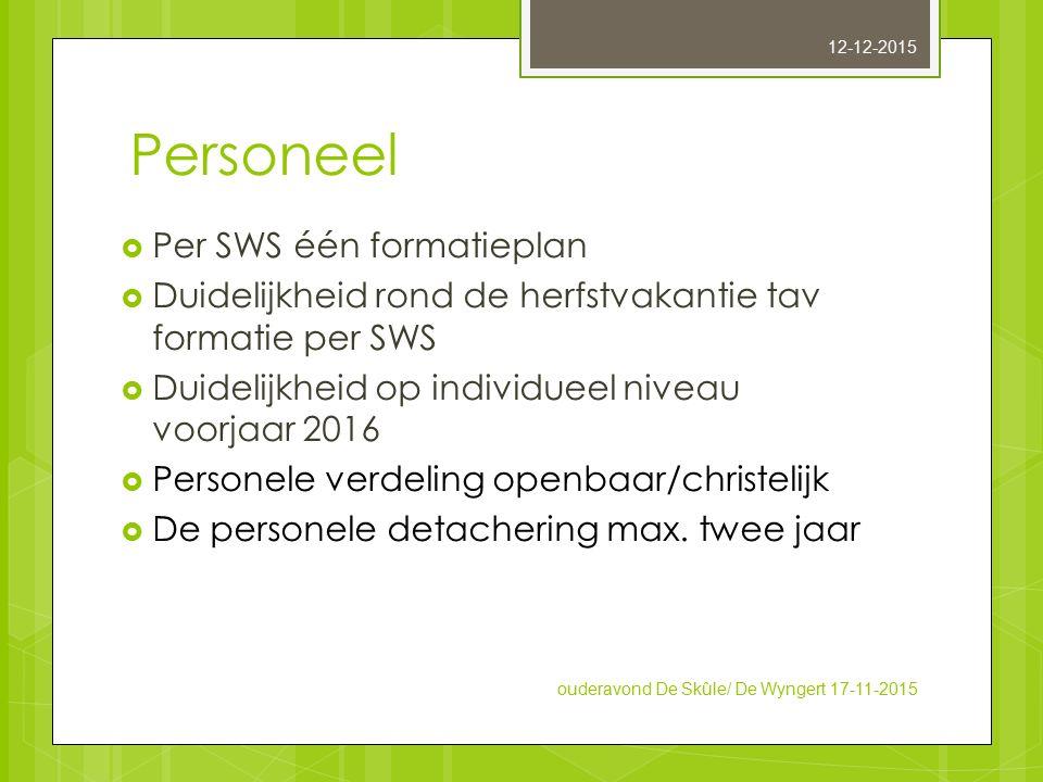 Personeel Per SWS één formatieplan