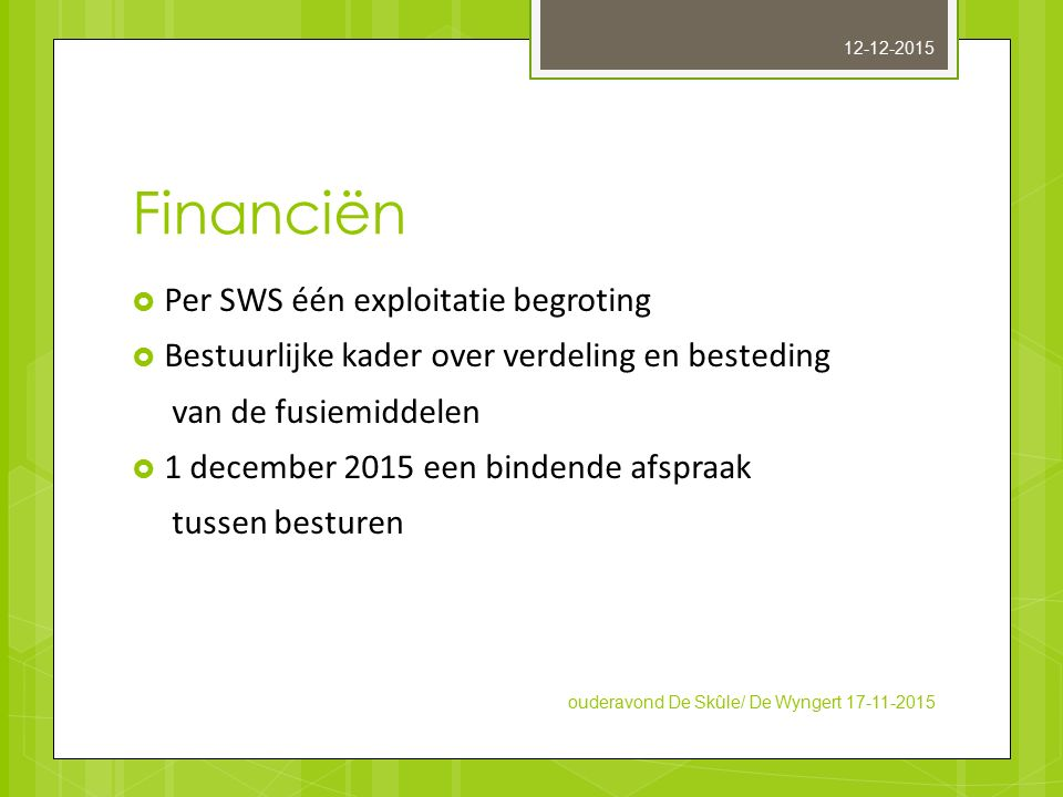 Financiën Per SWS één exploitatie begroting