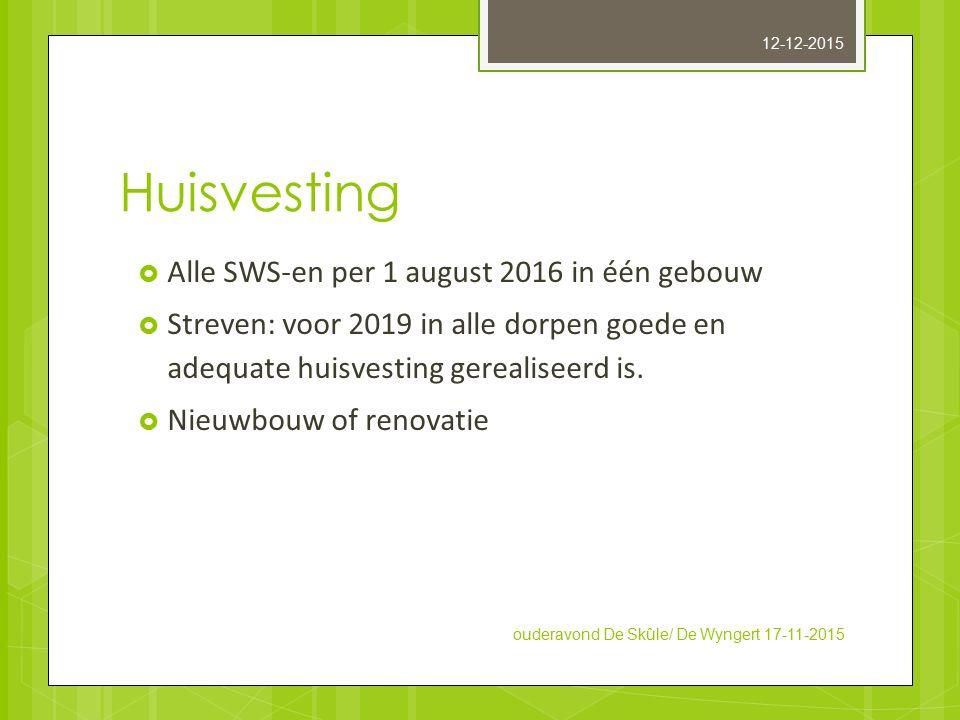 Huisvesting Alle SWS-en per 1 august 2016 in één gebouw