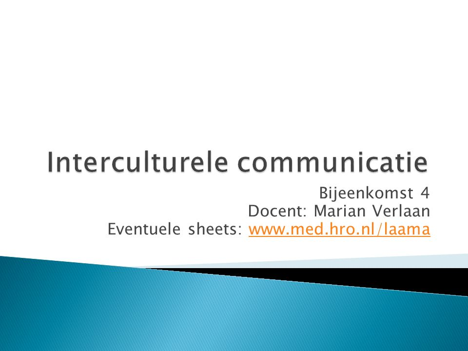 I Interculturele communicatie