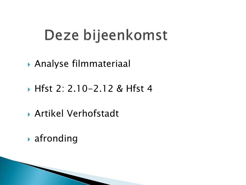 Deze bijeenkomst Analyse filmmateriaal Hfst 2: 2.10-2.12 & Hfst 4
