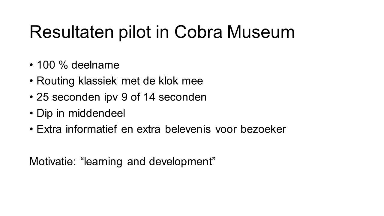 Resultaten pilot in Cobra Museum