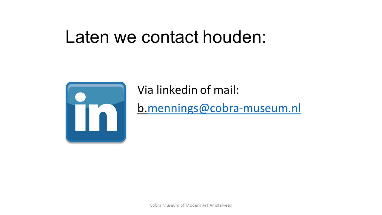 Laten we contact houden: