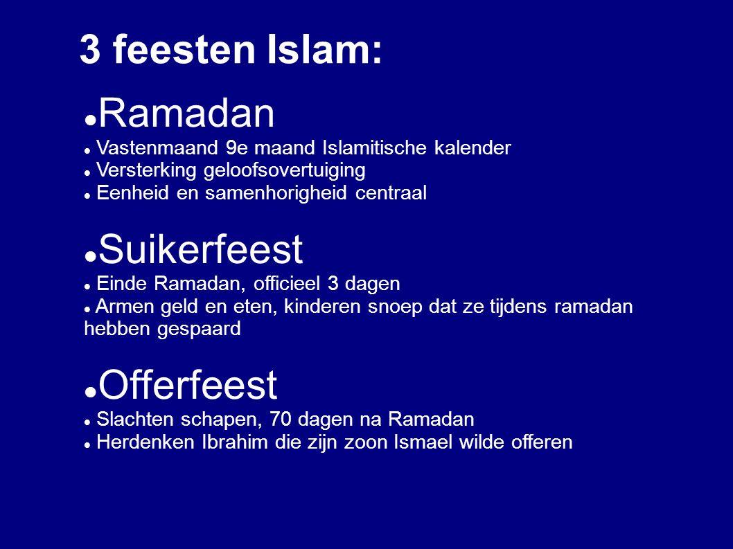 3 feesten Islam: Ramadan Suikerfeest Offerfeest