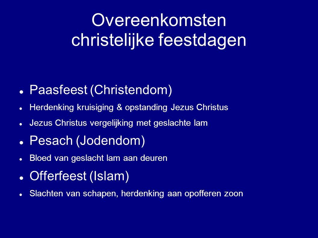 Overeenkomsten christelijke feestdagen
