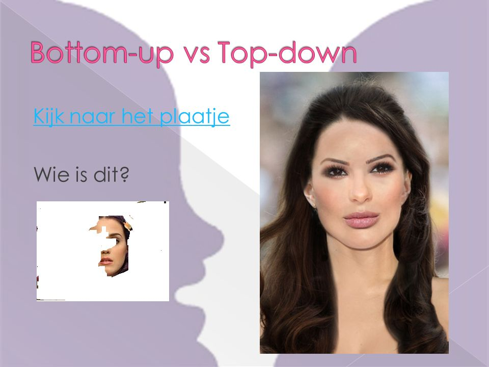 Bottom-up vs Top-down Kijk naar het plaatje Wie is dit