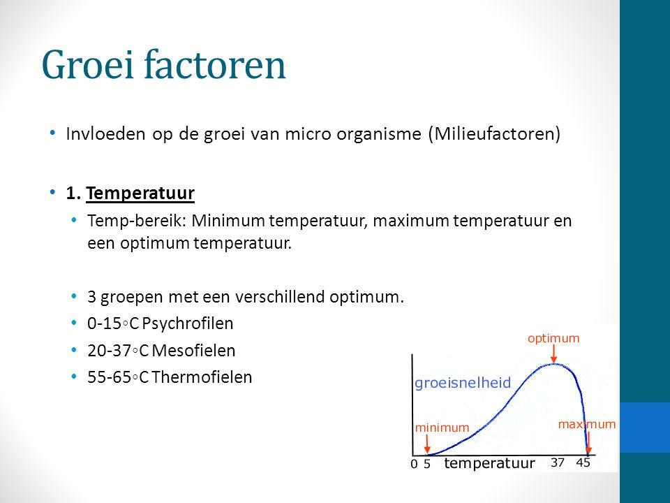 Groei factoren Invloeden op de groei van micro organisme (Milieufactoren) 1. Temperatuur.
