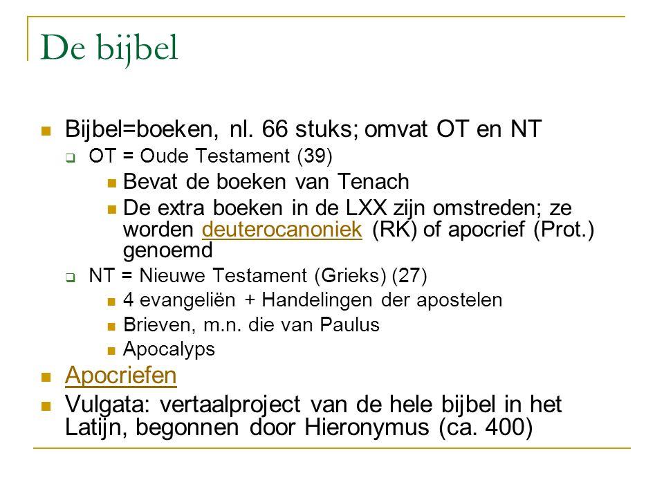 De bijbel Bijbel=boeken, nl. 66 stuks; omvat OT en NT Apocriefen