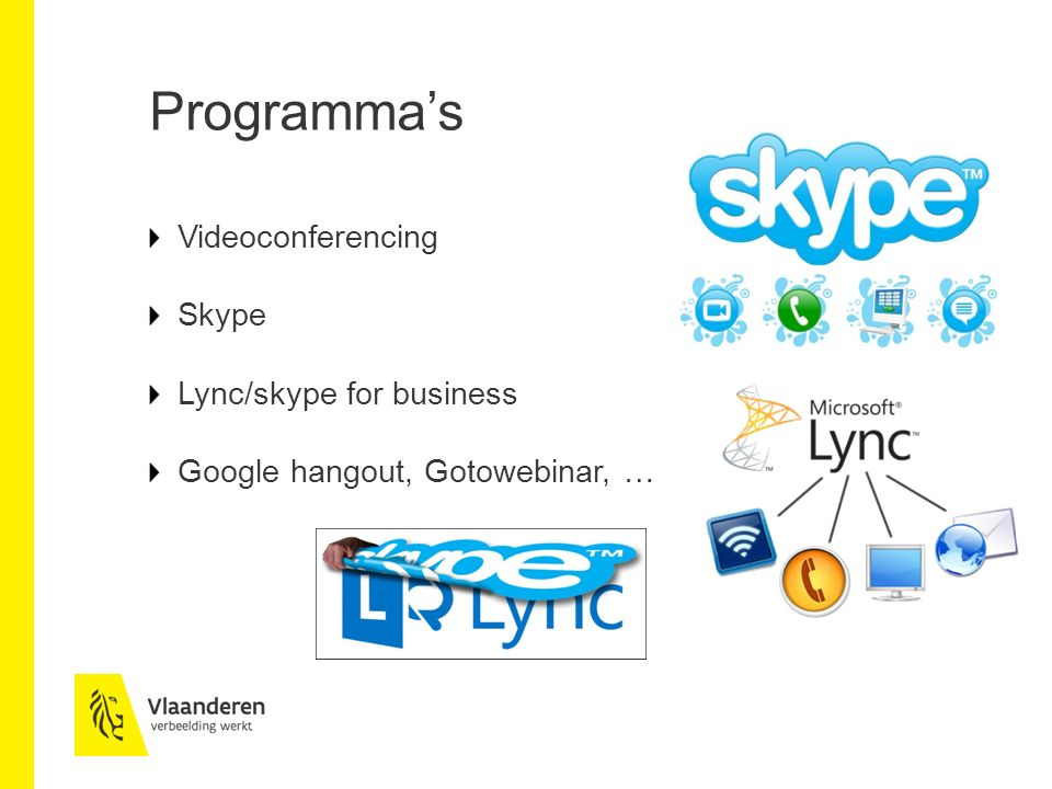 Programma's Videoconferencing Skype Lync/skype for business