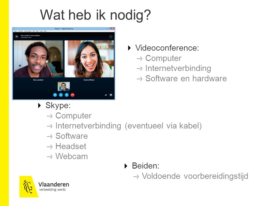 Wat heb ik nodig Videoconference: Computer Internetverbinding