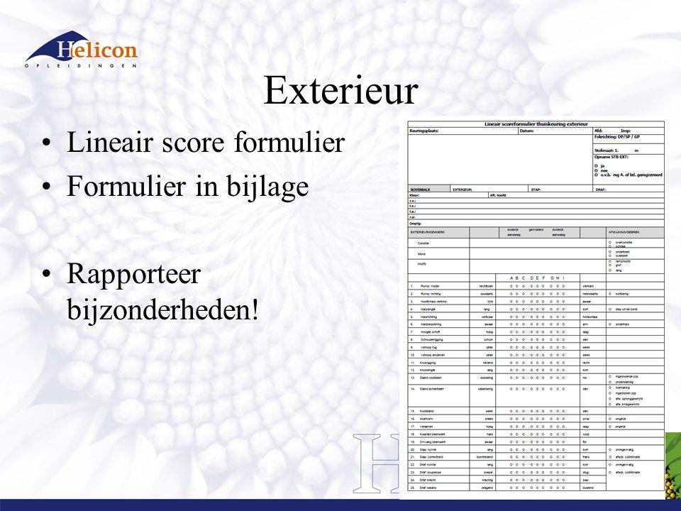 Exterieur Lineair score formulier Formulier in bijlage