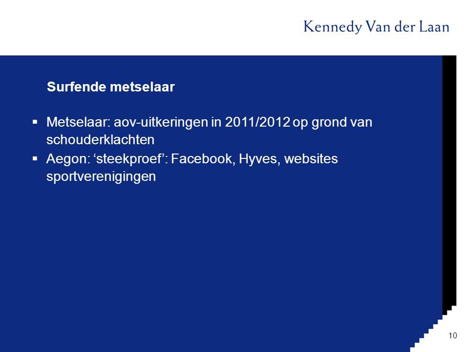 Surfende metselaar Metselaar: aov-uitkeringen in 2011/2012 op grond van schouderklachten.