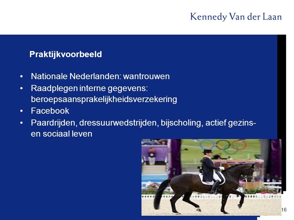 Praktijkvoorbeeld Nationale Nederlanden: wantrouwen. Raadplegen interne gegevens: beroepsaansprakelijkheidsverzekering.