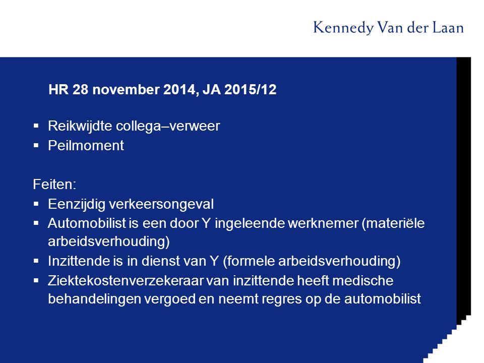 HR 28 november 2014, JA 2015/12 Reikwijdte collega–verweer. Peilmoment. Feiten: Eenzijdig verkeersongeval.