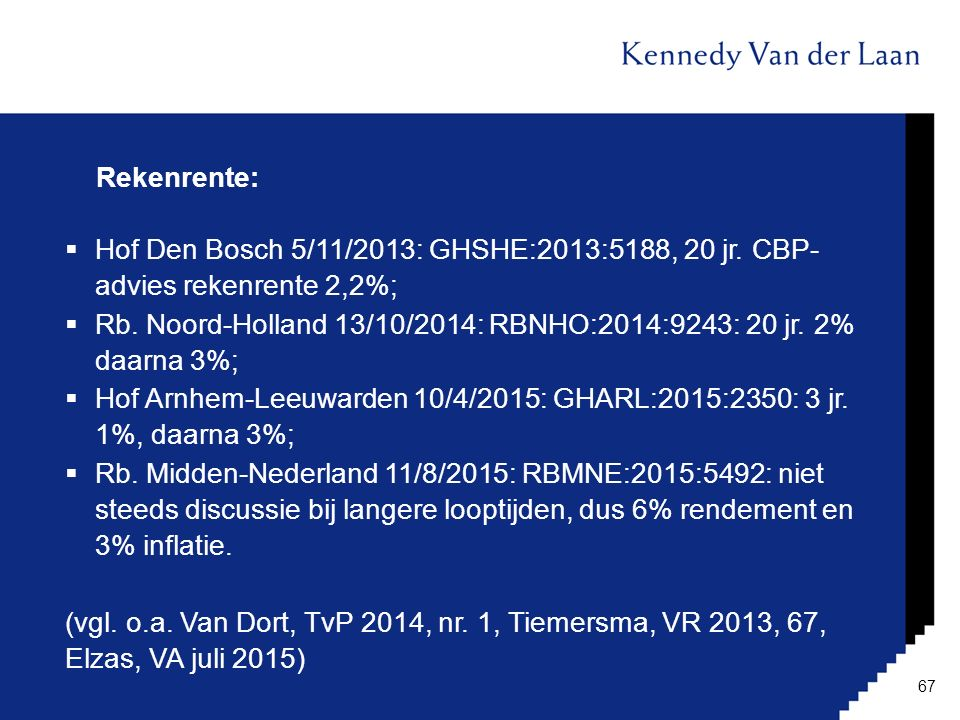 Rekenrente: Hof Den Bosch 5/11/2013: GHSHE:2013:5188, 20 jr. CBP- advies rekenrente 2,2%;