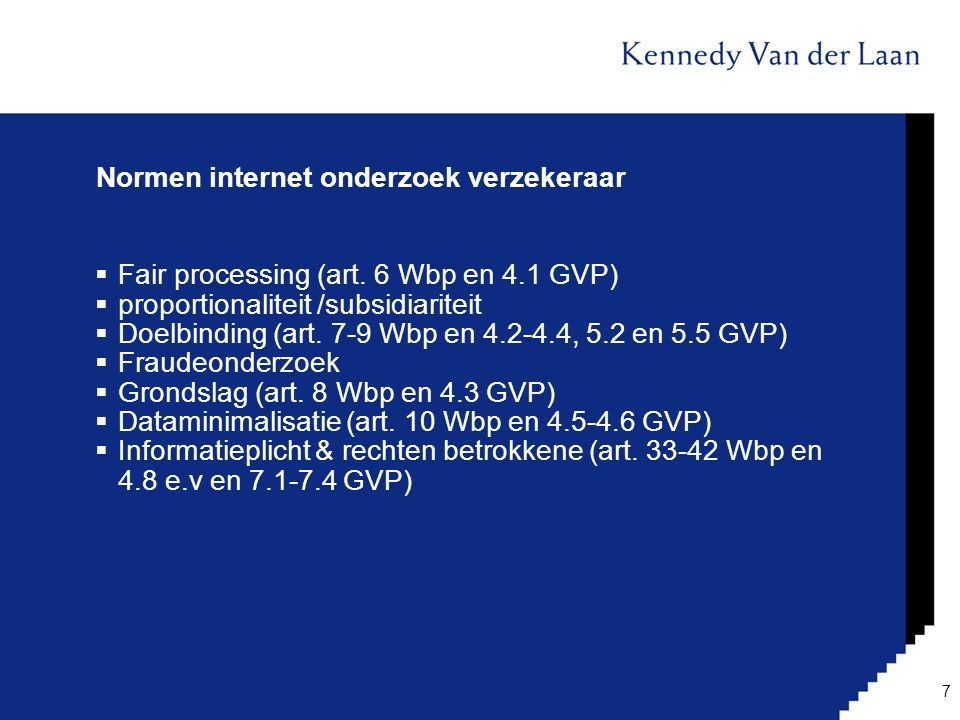 Normen internet onderzoek verzekeraar