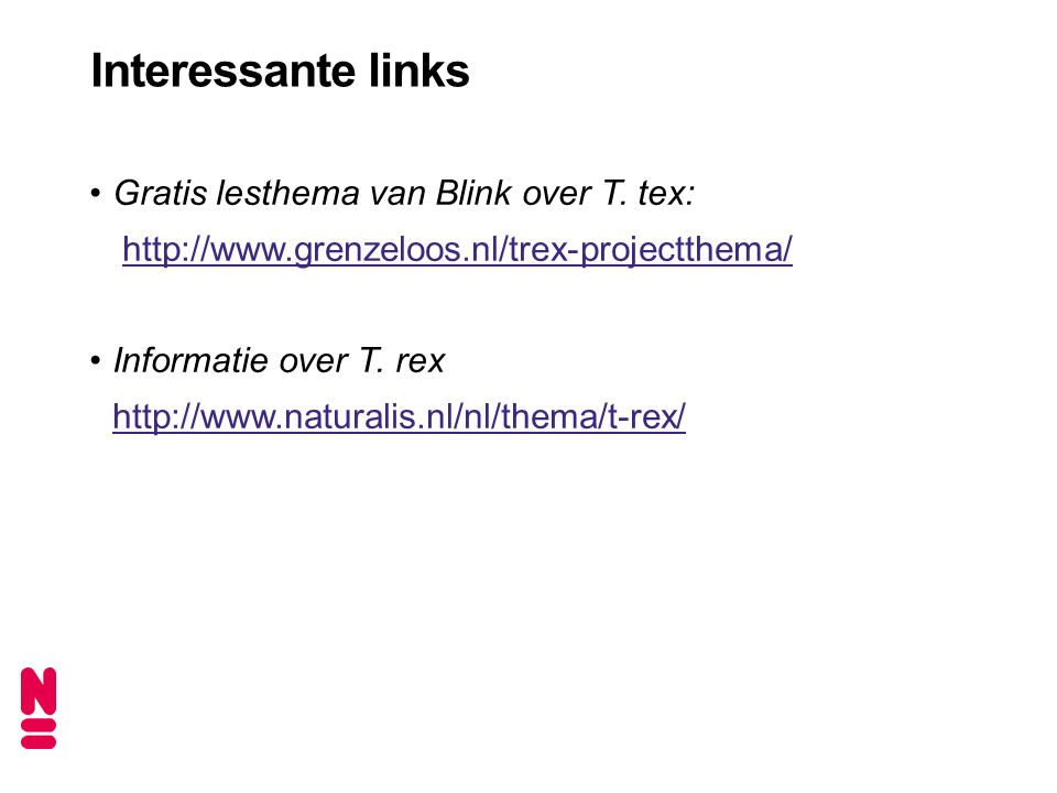 Interessante links Gratis lesthema van Blink over T. tex: