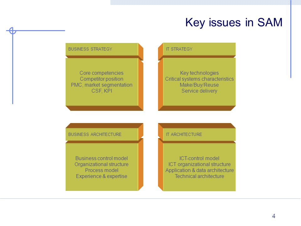 Key issues in SAM Core competencies Competitor position