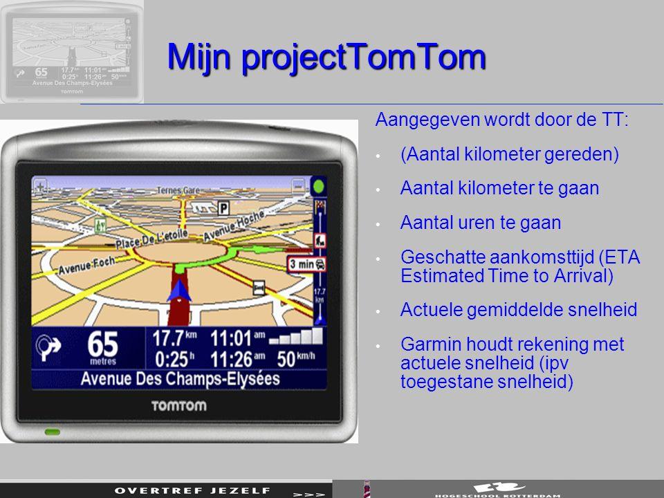 Mijn projectTomTom Aangegeven wordt door de TT: