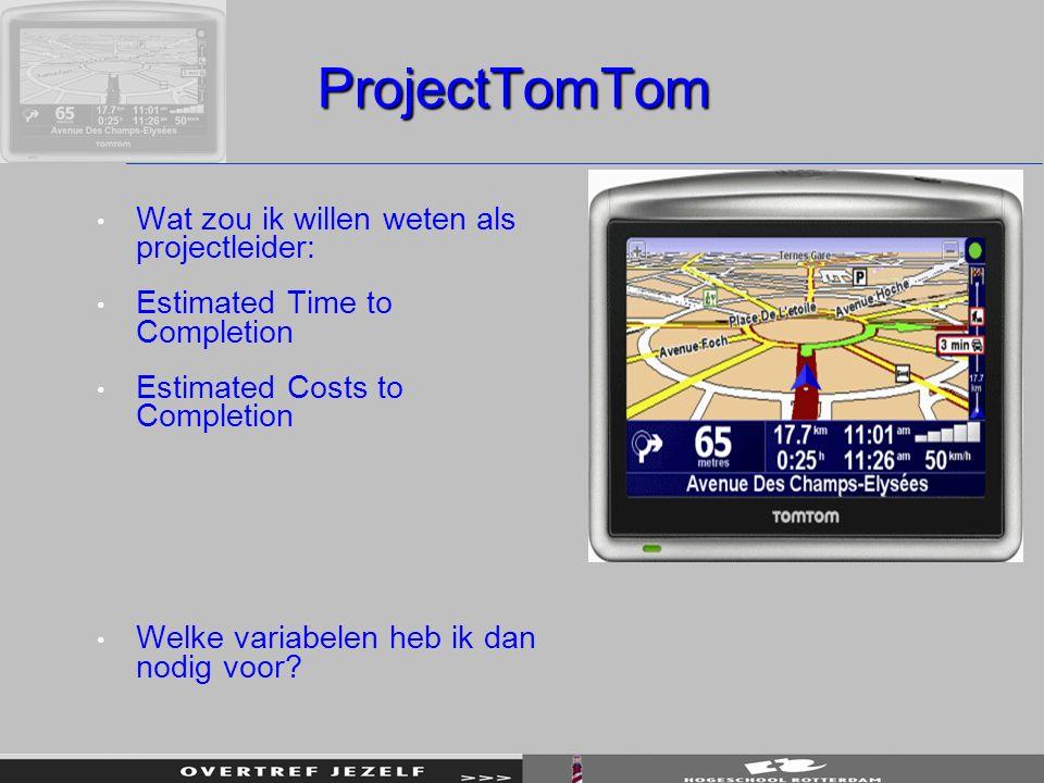 ProjectTomTom Wat zou ik willen weten als projectleider: