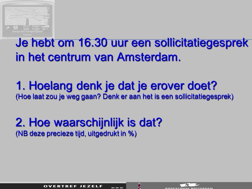 Je hebt om 16.30 uur een sollicitatiegesprek in het centrum van Amsterdam.