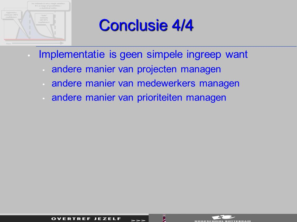 Conclusie 4/4 Implementatie is geen simpele ingreep want
